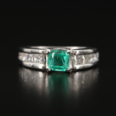 Platinum Emerald and 1.00 CTW Diamond Ring