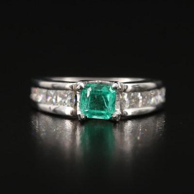 Platinum Emerald and 1.00 CTW Diamond Ring