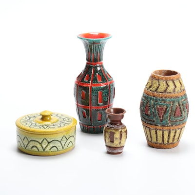 Italian Polychrome Earthenware Vases and Lidded Box, Mid-20th Century