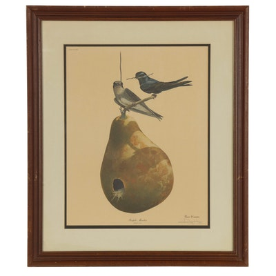 """Ray Harm Offset Lithograph """"Purple Martin,"""" Late 20th Century"""