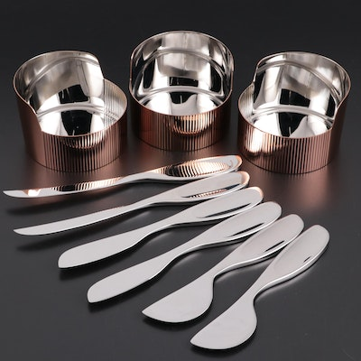 Georg Jensen Stainless Steel Serving Bowls and Soft Cheese Knives