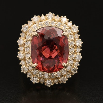 14K 11.55 CT Rubellite and 1.45 CTW Diamond Ring