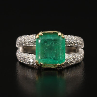 18K 2.19 CT Emerald and 1.00 CTW Diamond Split Shoulder Ring