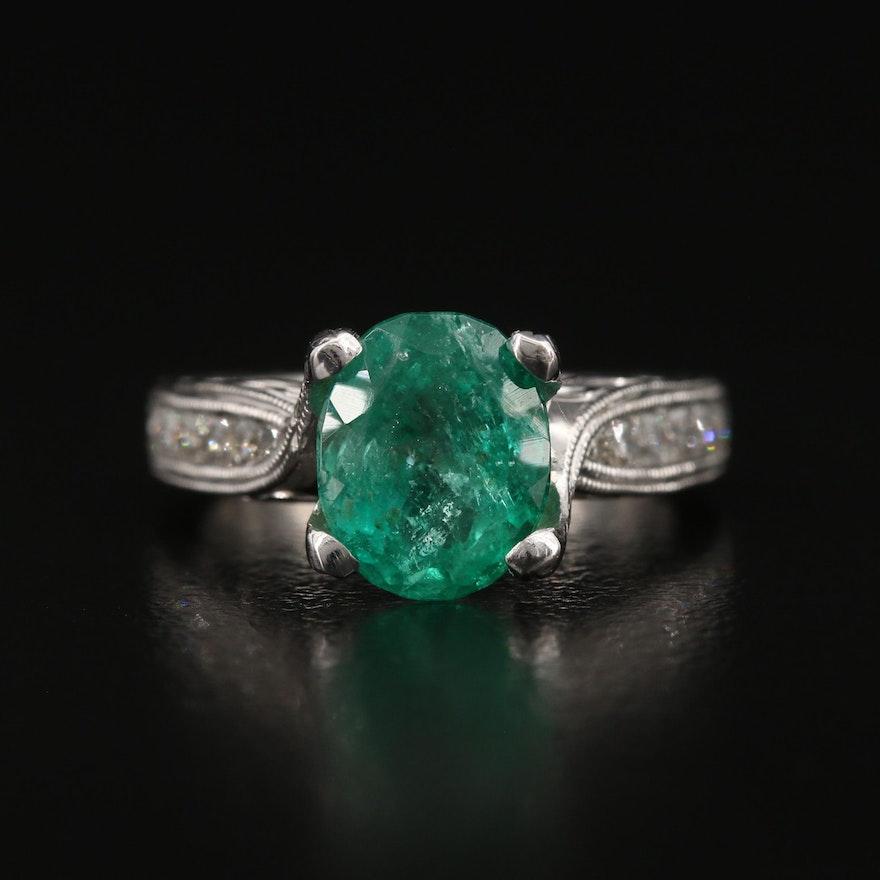 Kirk Kara 18K 2.18 CT Emerald and Diamond Ring