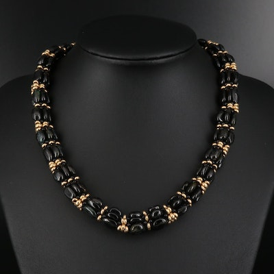 14K Multi-Strand Tourmaline Bead Necklace