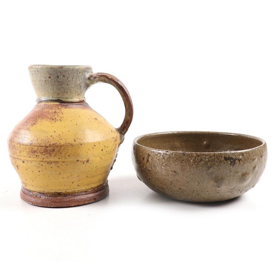 Kathryn Morris Art Pottery Stoneware Bowl with Matt Glazed Ewer
