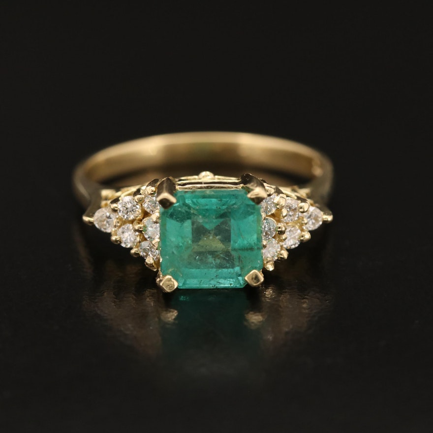 18K 1.97 CT Emerald and Diamond Ring