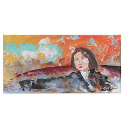 "Kurt Shaw Acrylic Painting ""Veronica Pondering,"" 2019"