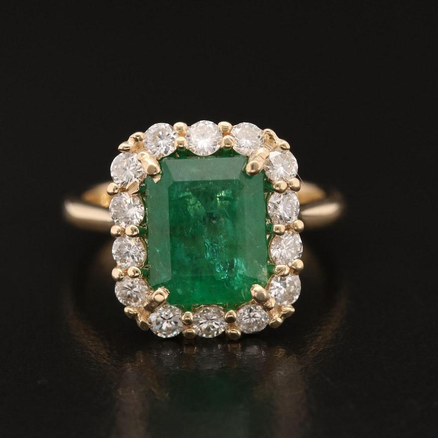 14K 3.44 CT Emerald and Diamond Ring
