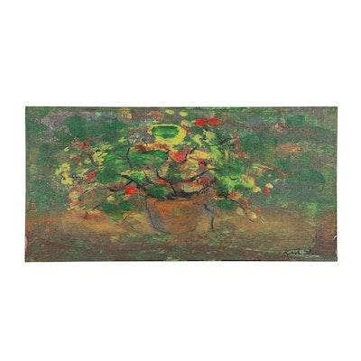 "Kurt Shaw Impressionist Style Acrylic Painting ""Floral Still Life,"" 2015"