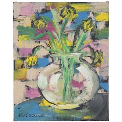 "Kurt Shaw Acrylic Painting ""Floral Still Life for Cézanne,"" 2014"