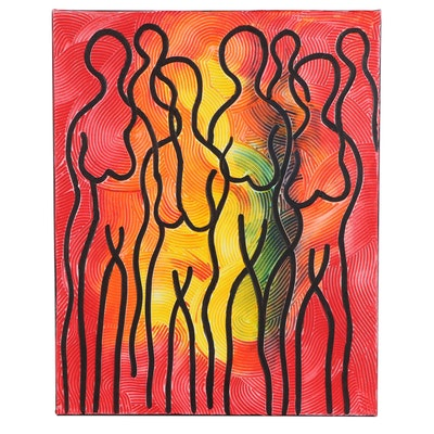 "Abiola Idowu Mixed Media Painting ""Beautiful Women,"" 2021"