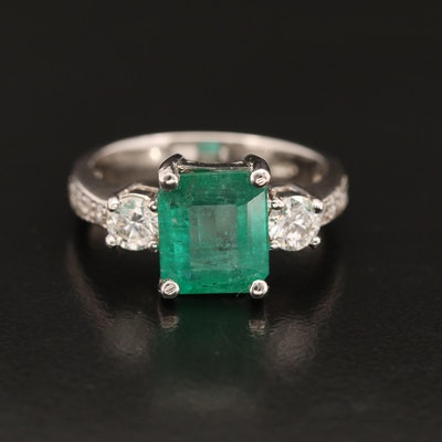 14K 2.46 CT Emerald and Diamond Ring