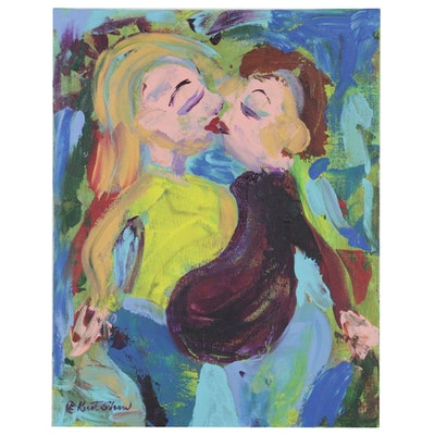 "Kurt Shaw Folk Art Acrylic Painting ""You Complete Me,"" 2020"
