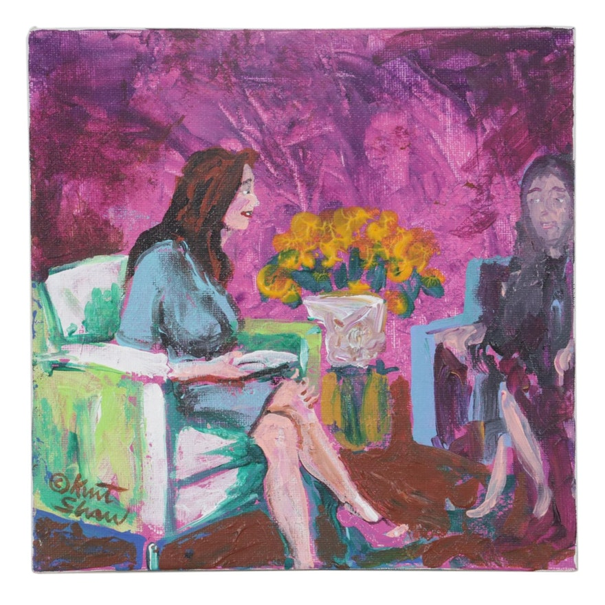 "Kurt Shaw Acrylic Painting ""The Interview,"" 2018"