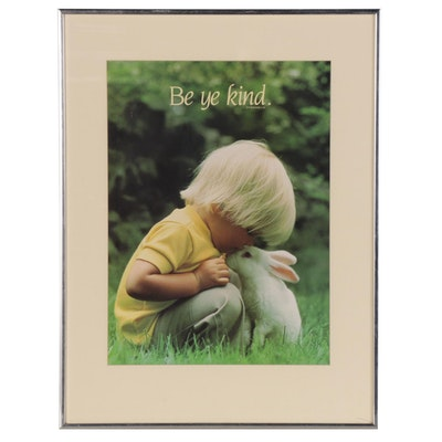 """Offset Lithograph with Ephesian 4:32 """"Be ye Kind,"""" 21st Century"""