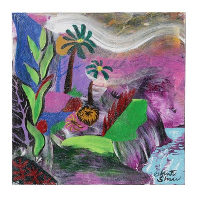 "Kurt Shaw Folk Art Acrylic Painting ""Fantasy Island Waterfall,"" 2017"