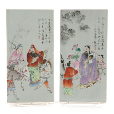 Two Chinese Hand-Painted Porcelain Tiles