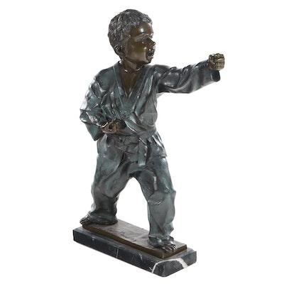 Tim Davidson Bronzed Sculpture of Karate Boy