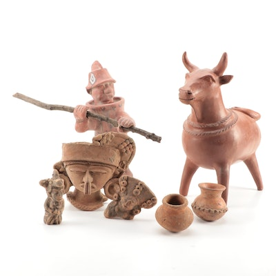 Pre-Colombian Style Terracotta Figures and Vessels Mid to Late 20th Century