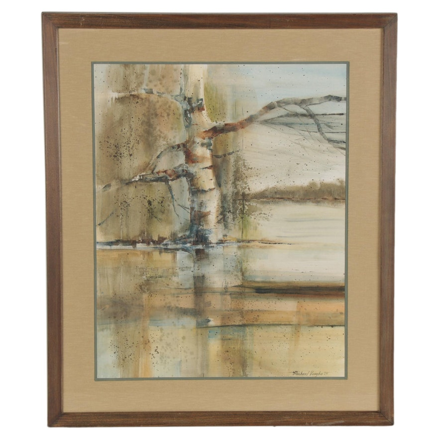 Michael Vaughn Watercolor Painting of Birch Tree, 1975