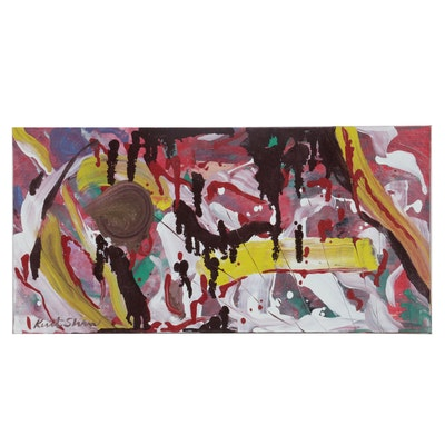 """Kurt Shaw Abstract Expressionist Style Oil Painting """"Lair,"""" 2020"""