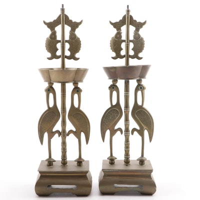 Pair of Chinese Brass Crane and Fish Incense Stands