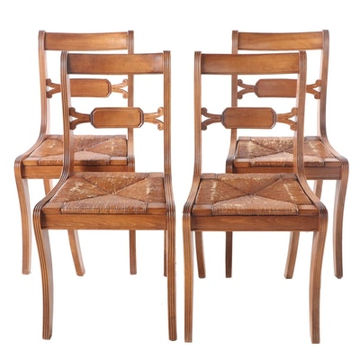 Four Tell City Chair Co. Classical Style Mahogany-Stained Dining Side Chairs