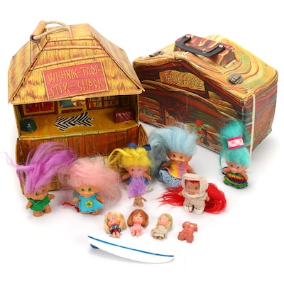 "Wishnik Trolls ""Stik-Shack"" Play House Case with Dolls and Accessories, 1960s"