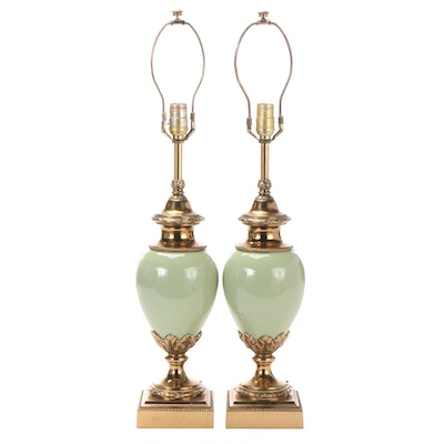 Pair of Stiffel Hollywood Regency Style Celadon Ceramic and Brass Table Lamps