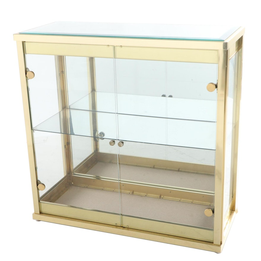 Brass and Mirrored Glass Display Cabinet, Late 20th Century