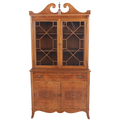 Federal Style Walnut and Figured Walnut China Cabinet, 20th Century