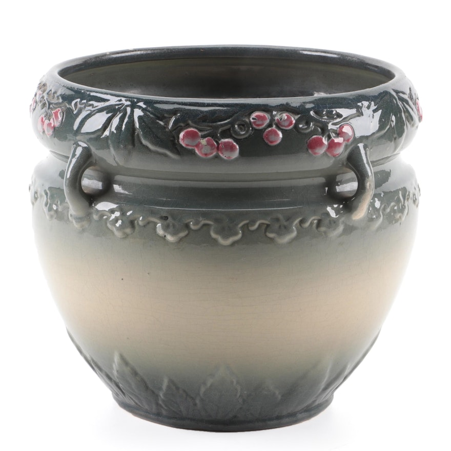Floral Motif Glazed Ceramic Planter, Mid to Late 20th Century