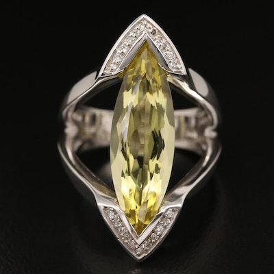 EFFY 14K Elongated Marquise Citrine and Diamond Ring