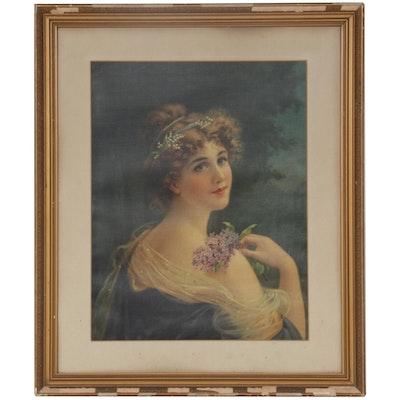 """Portrait Color Lithograph after Émile Vernon """"Girl with Lilacs"""""""
