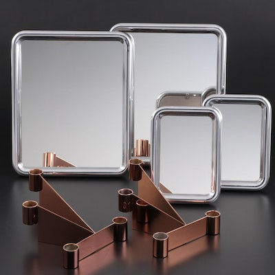 "Georg Jensen ""Tableau"" Tabletop Mirrors with ""Urkiola"" Candlestick Holders"