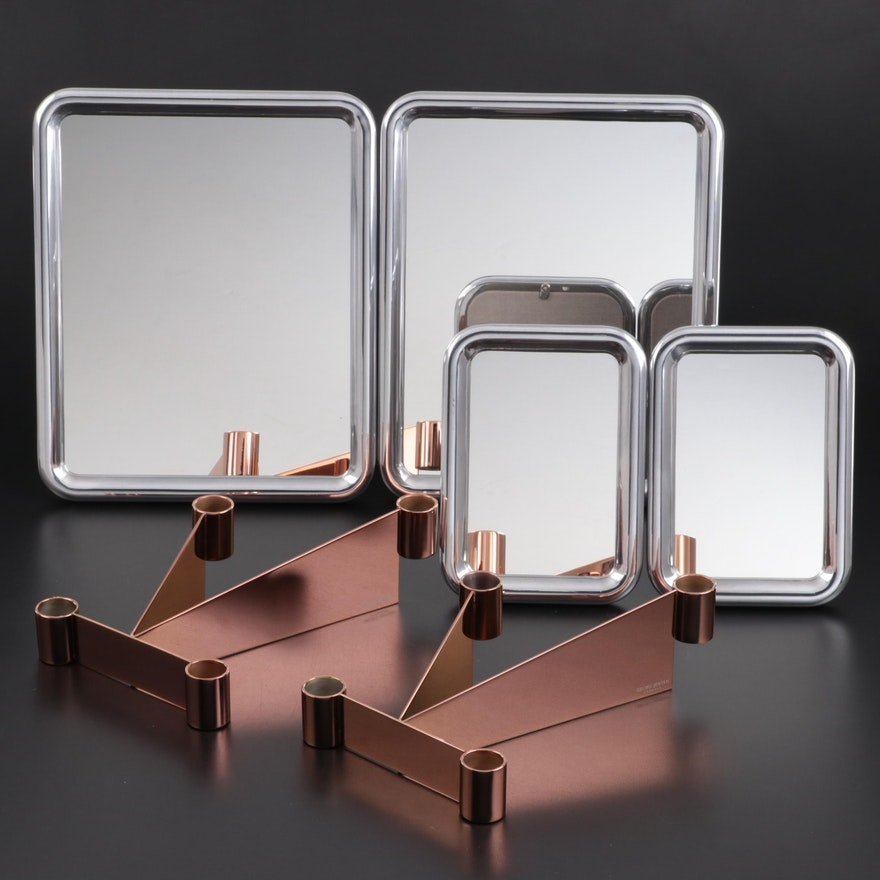 "Georg Jensen ""Tableau"" Tabletop Mirrors with ""Urkiola"" Candlestick Holders"