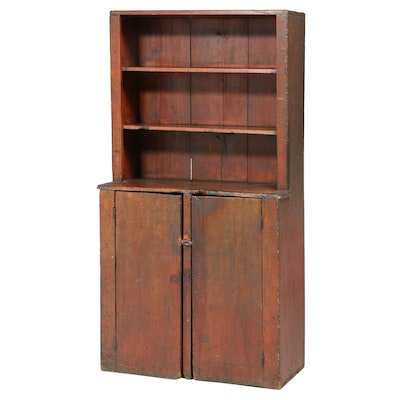 American Primitive Red-Washed Pine Stepback Cupboard, 19th Century