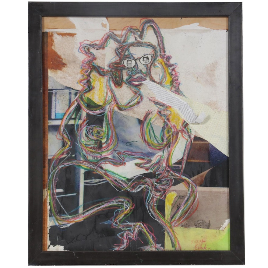 Janice Schuler Mixed Media Composition of Abstract Figure, 2016