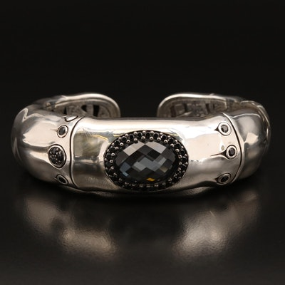 """John Hardy """"Bamboo"""" Quartz Hematite Doublet and Sapphire Kick Cuff with Pouch"""