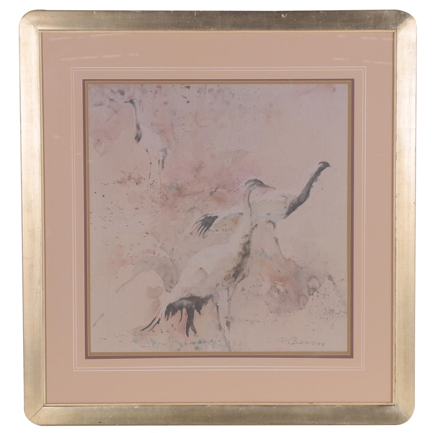 Abstract Offset Lithograph of Herons, 21st Century