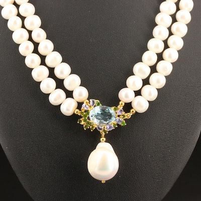 Sterling Pearl, Topaz and Diopside Double Strand Drop Necklace
