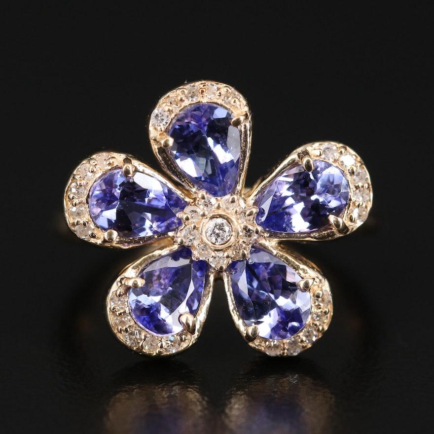 EFFY 14K Tanzanite and Diamond Flower Ring