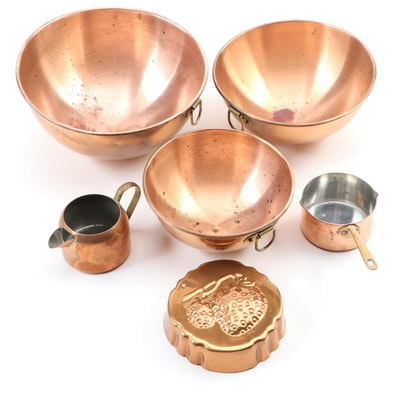 Copper Clad Mixing Bowls and Other Cookware, Late 20th to 21st Century