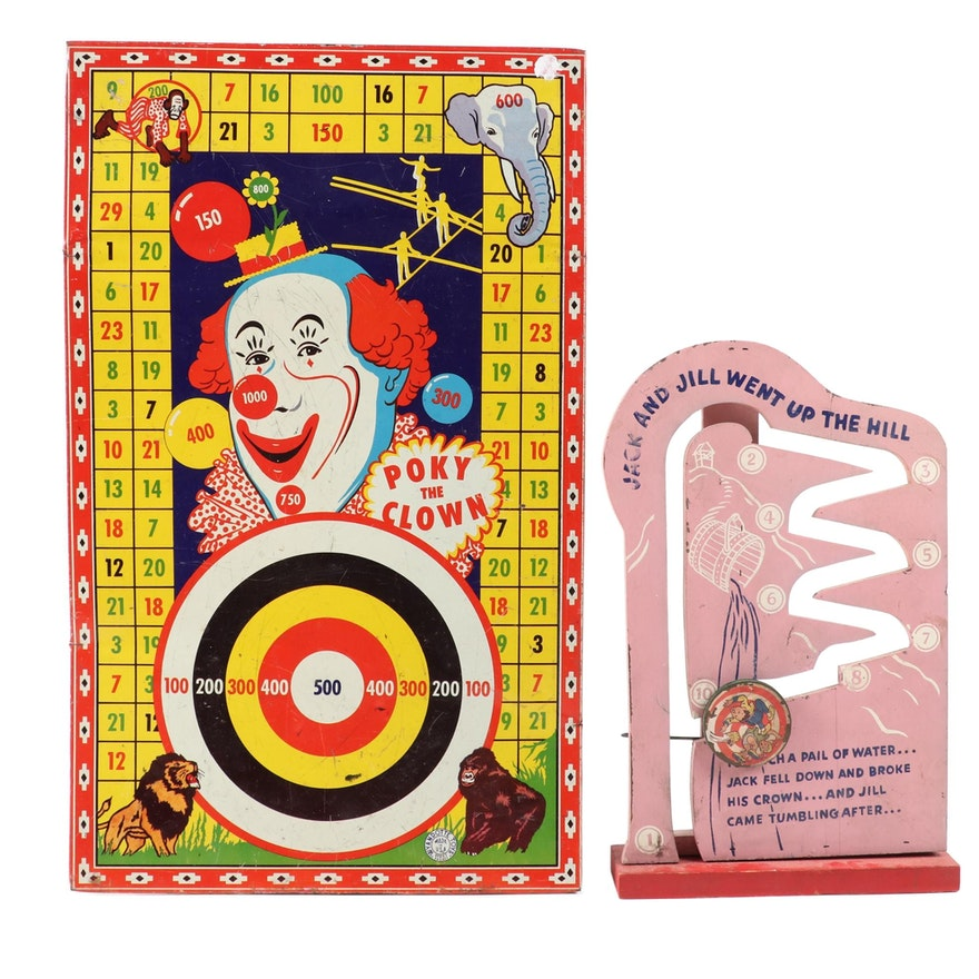 "Wyandotte Toys ""Poky the Clown"" Target and Jack and Jill Toy"
