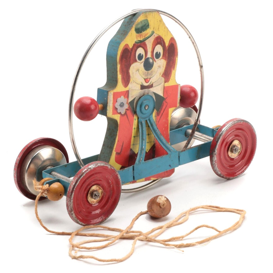The Gong Bell Co. Wooden and Metal Dog Pull Toy, Mid-20th Century