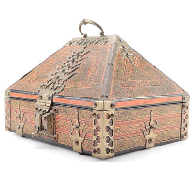 Indian Brass Mounted Hardwood Dowry Box