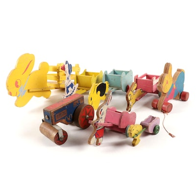 Wooden Easter Cart and Tractor Toys, Mid-20th Century
