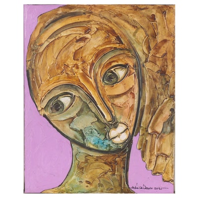 "Abiola Idowu Mixed Media Painting ""I Am Not Alone,"" 2021"