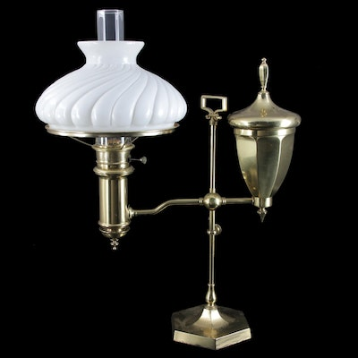 Victorian Style Lacquered Brass Student Lamp with Milk Glass Spiral Shade, 1930s